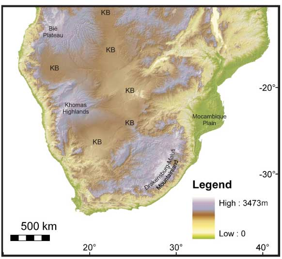 figure 1 srtm digital elevation image for southern africa the highest elevations purple grey tones are associated with the marginal escarpment and the