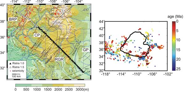 Intraplate edge figure 1 topographic map of colorado plateau region with seismicity red dots cp colorado plateau brp basin and range province rgr rio grande rift publicscrutiny Images